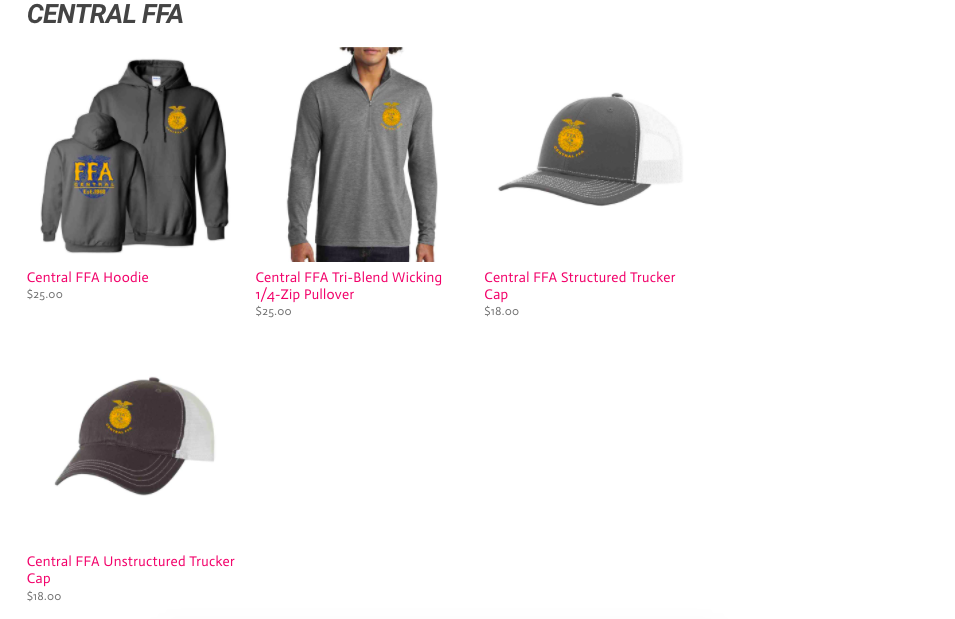 Central FFA Chapter Apparel Sale